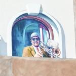 Artist Michael Pilato begins applying Inspiration Mural to Newrose Building in Pittston