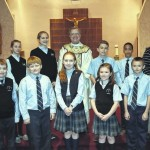 Wyoming Area Catholic School student council members lead prayers during Catholic Schools Week