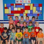 Children from the Cookie Corner Childcare Center in West Wyoming learn about Dutch artist Piet Mondrian
