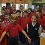 Members of Holy Rosary School in Duryea wear red to show support for those with dyslexia