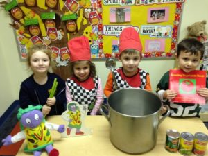 Holy Rosary School students in Duryea learn about the letter 'V' by making vegetable soup